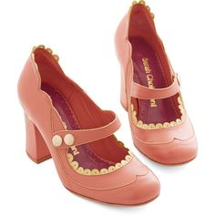 ModCloth Vintage Inspired Sweet Intermission Heel (€120) ❤ liked on Polyvore featuring shoes, pumps, heels, mary jane heel, pink, pink mary jane pumps, mary-jane shoes, evening shoes, pink mary janes and mary jane shoes
