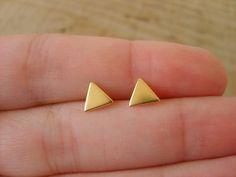 Little triangles gold studs earrings handmade gold by peshka,