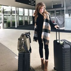 black jeans outfit, travel ootd, airport outfit, black on black outfit, black jeans and black sweater, black jeans brown boots, winter outfit idea