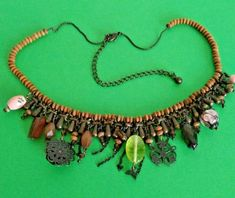 Brown Wooden Beaded Necklace with various charms Boho Costume Jewellery   A951 Boho Festival, Boho Necklace, Wooden Beads, Costume Jewelry, Charms, Costumes, Jewellery, Pendant, Brown