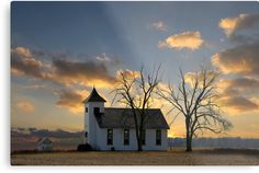 #SALE, 20% off everything. Gifts for someone who isn't like anyone. Use FORTHEM20  A small #church in the #Midwest Near #St. #Elmo, #IL, at #sunset. / nature,landscape, building, church, architecture,sunset,sky,clouds,earth,midwest,st.elmo,illinois,il,prairie,farm,fields,peace,serenity,happiness, happy,photography, sundown,sky,wall art,nature,natural,print,lonely,holy,sacred,theresa,campbell,D'August,art • Also buy this artwork on wall prints, stickers, phone cases, and more.