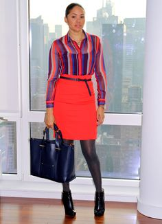 multicolored, striped Equipment Blouse; red H Skirt; black Tote; black Fendi Booties; Forever 21 Necklace; gold Michel Kors Watch