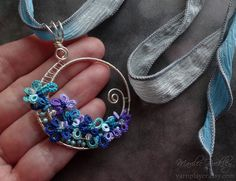 """Yarnplayer's Tatting Blog: Silver tatted pendant and """"Stonehill Wine"""" hand dyed thread"""