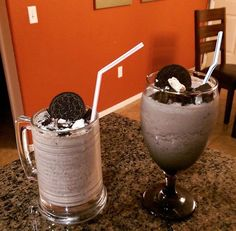DIY McDonald's Oreo Frappe. Recipe Makes Two Servings. 2 Cups - Ice. 1 Cup - Milk. 1 Cup - Coffee. 4 Scoops - Ice Cream. 5 Oreos. Garnish- Whipped Cream & Crumbled Oreos on top.