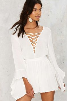 Sway Lace-Up Romper | Shop Clothes at Nasty Gal!