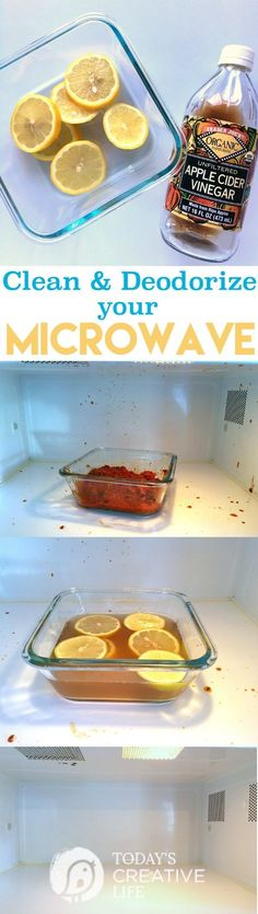 How to Clean and Deodorize A Microwave | This cleaning method is non-toxic using ACV, lemons and water. Let the steam do the work! See more tips on http://TodaysCreativeLife.com