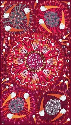 Plum and Bush Banana :: Australian fabric based on traditional Aborigine paintings