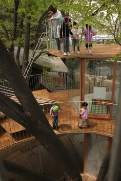 Fuji Kindergarten, Tokyo, Japan by Tezuka Architects :: ring around a tree playground