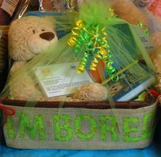 I'M Bored Gift Basket Includes Gund Barton Bear, 2 Dot to Dot Books, Recipe Cards, and 50 Things to Make and Do Activity Book