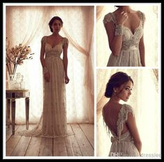 Wholesale Mermaid Wedding Dresses - Buy High Quality Ivory 2014 Vintage Sheath Wedding Dresses Sheer Anna Campbell Lace V Neck Column Bridal Gowns Beaded Open Back Sweep Train, $163.89 | DHgate