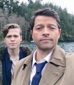 Castiel and Castiel Junior (Jack) on Supernatural set. Finally together