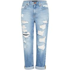 Genetic Los Angeles Gia Distressed Boyfriend Jeans ($157) ❤ liked on Polyvore featuring jeans, pants, bottoms, calças, distressed jeans, distressed boyfriend jeans, torn jeans, ripped jeans and destructed jeans