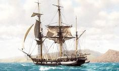 HMS Beagle in the Galapagos by John Chancellor