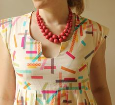 washi tape dress+ necklace