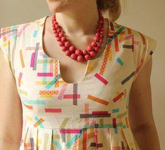 washi tape dress+ necklace