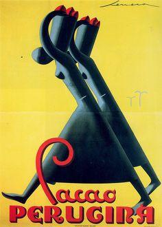Vintage Italian Posters ~ #illustrator #Italian #posters ~ Federico Seneca, Cacao Perugina, 1930