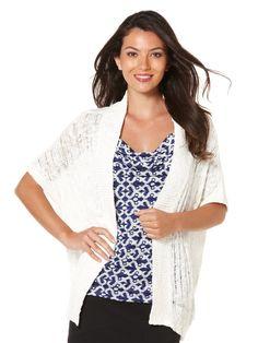 Rafaella kimono sleeve open knit #cardigan $14 (reg 79!)