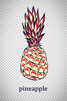 Illustration about Hand drawn stylized pineapple. Vector ananas fruit isolated on transparent background. Illustration for logo or icon. Illustration of nature, garden, graphic - 145305211 Pineapple Tattoo, Tropical Fruits, Graphic Illustration, Hand Drawn, How To Draw Hands, Organic, Logos, Tattoos, Tatuajes