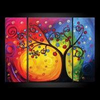 TM3A037 - Schilderij 90x125 3 luik Colorful tree Schilderijenshop.com