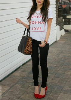 white t-shirt, black trousers, red heels, leopard and black print handbag. Street summer women fashion outfit clothing style apparel @roressclothes closet ideas