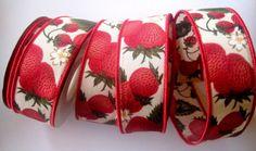 Strawberry Cotton Wired Ribbon Multi 1 3/8 by PrimroseLaceRibbon, $3.50