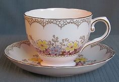 TUSCAN FINE BONE CHINA CUP AND SAUCER PALE PINK FLORAL GOLD VINTAGE NUMBERED ENG