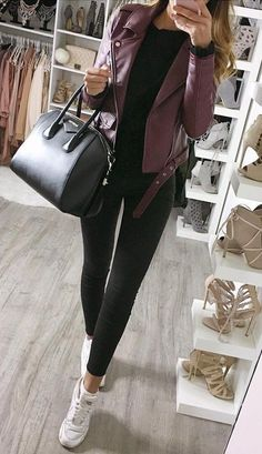 Purple Leather Jacket + Black Jeans + Leather Tote + White Sneaker                                                                             Source