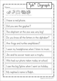PH Digraph Games Activities Worksheets. 84 pages in total. A page from the unit: Reading page for homework:
