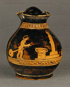 Child with a toy in front of an altar and a stele. Small, red-figured oenochoe. Around 425 BCE Inv. CA 1683 Louvre, Departement des Antiquites Grecques/Romaines, Paris, France