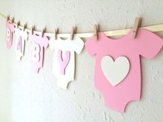 "Items similar to Baby One-Piece Bodysuit ""BABY GIRL"" Baby Shower Banner: Pink and Green Baby Girl Shower Decoration on Etsy Deco Baby Shower, Baby Girl Shower, Shower Party, Baby Shower Gifts, Girl Baby Shower Decorations, Baby Shower Themes, Shower Ideas, Baby Shower Banners, Baby Decor"