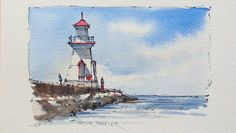 Pen and Wash watercolor Demostration of a Lighthouse. Great for begginer...