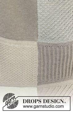"""Strikket DROPS tæppe med ruder i retstrik, stjernemønster, patent, striber, vaffelmønster og bambusmønster i """"Nepal"""" ~ DROPS Design"""