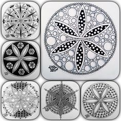 """""""Mandalaproject part 1-6 is done. Loved trying to make a different design each time. Wich one is your favourite??? #zentangle #zentangleart #zendala…"""""""