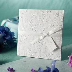 Classic White Side Fold Floral Embossed Square Wedding Invitations, 100 pcs/lot,