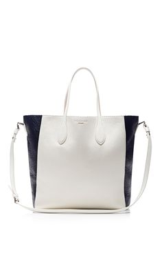 White And Midnight Glazed Deerskin Tote by Rochas for Preorder on Moda Operandi