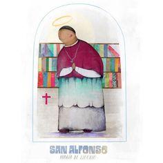 """La Santeria on Instagram: """"Hoy ya es 1 de Agosto! Y es el día de San Alfonso María de Ligorio, doctor y obispo de la Iglesia, gran lector y escritor, la fuerte…"""" Instagram, Painting, Angeles, Big, Saints, Writer, Strong, Angels, Painting Art"""