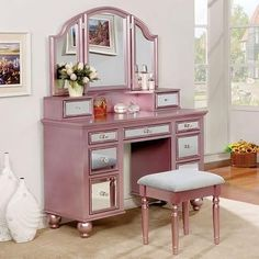 Tracy CM-DK6162RG Vanity with Stool Set with Storage Drawers 3mm Mirror Inserts and 3-Sided Mirror in Rose Gold