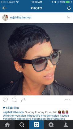 Hairstyles for black women Stylish Short Hair, Short Sassy Hair, Cute Hairstyles For Short Hair, Black Girls Hairstyles, Pixie Hairstyles, Short Hair Styles, Short Pixie, Natural Hair Styles For Black Women, Short Hair Cuts For Women