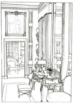 Line Drawing Enlarged And Reproduced From A Magazine Photo