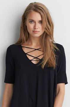 AEO Soft and Sexy Lace-Up Top by  American Eagle Outfitters | Our AEO Soft and Sexy collection is swingy, drapey and silky soft. Shop the AEO Soft and Sexy Lace-Up Top and check out more at AE.com.