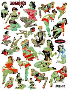 Zombie Pin-Ups Collage Sheet from www.junkmill.etsy.com