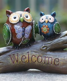 This 'Welcome' Beaded Owls Statuary by Transpac Imports is perfect! #zulilyfinds
