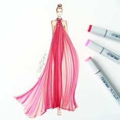 """""""A pleated @moniquelhuillier beauty floats down the runway. Sketched with…"""
