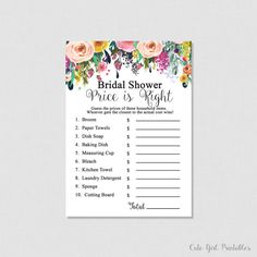 White Floral Printable Price is Right Game - Floral Bridal Shower Games - Price Is Right Bridal Game - Printable Bridal Shower Games 0001W