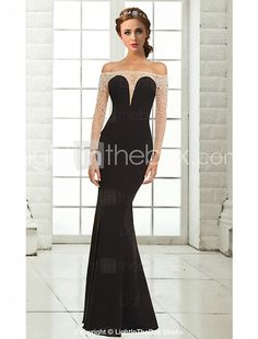 e691059d167 Mermaid   Trumpet Off Shoulder Floor Length Chiffon See Through Cocktail  Party   Formal Evening Dress with Beading by TS Couture®