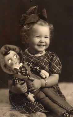 """girl with Martha doll.  ( a different type of """"martha doll"""" was from Finland, and looked more like a KATHE KRUSE Doll... of Germany."""