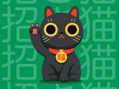Maneki Neko designed by Paulina Sadowska. Connect with them on Dribbble; Maneki Neko, Neko Cat, Crazy Cat Lady, Crazy Cats, Studio Ghibli Poster, Japanese Graphic Design, Tumblr Photography, Girl Cartoon, Cat Art