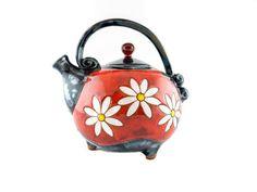 Handmade Ceramic Teapot Ball Shaped 37oz Daisy - Handmade Ceramics and pottery | Teapots, Coffee and Tea Mugs, Vases, Bowls, Plates, Ashtrays | Handmade stoneware - 1