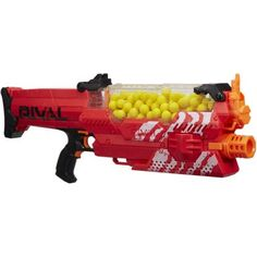 "The Nemesis MXVII-10K is a Nerf blaster that was released in August of 2017 under the RIVAL series. It requires six ""D"" batteries or a Rechargeable Battery Pack to be operated. It comes packaged with a Nemesis hopper, one-hundred High-Impact Rounds, and instructions."