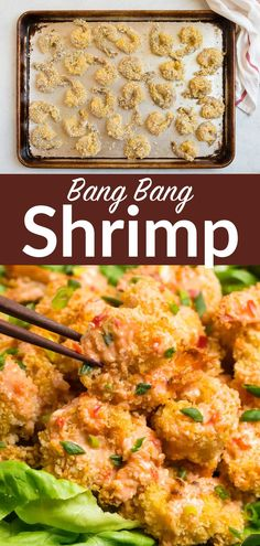 Bang Bang Shrimp, the popular Bonefish appetizer, is easy and healthy to make at home! Crispy baked shrimp coated in a creamy, spicy sauce.#appetizer #gameday #maindish @wellplated Potluck Dishes, Potluck Recipes, Top Recipes, Tasty Dishes, Appetizer Recipes, Cooking Recipes, Shrimp Recipes For Dinner, Easy Dinner Recipes, Seafood Recipes